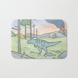 Tyrannsaurus Rex and Volcano Bath Mat