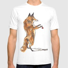 Christmas Fox Mens Fitted Tee White MEDIUM