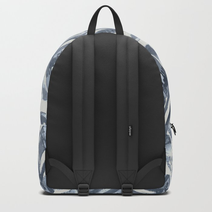 Simply Ikat Ink in Indigo Blue on Lunar Gray Backpack