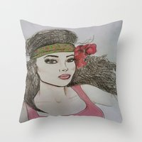 girly Throw Pillows featuring Girly,Girly by Nancy Ruvalcaba