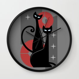 Modern Meows Atomic Age Black Kitschy Cats Wall Clock