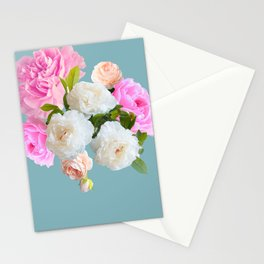 Robins Egg and Peony Floral Stationery Cards