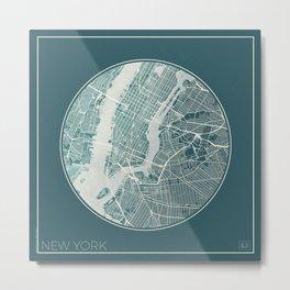 New York Map Planet Metal Print