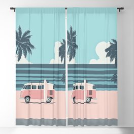 Surfer Graphic Beach Palm-Tree Camper-Van Art Blackout Curtain