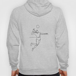 Volleyball Player Striking Ball Continuous Line Hoody