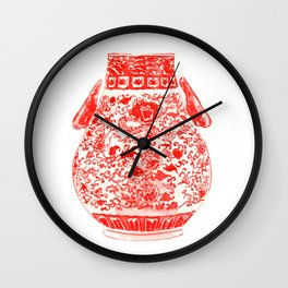 Coral Red Ginger Jar 2 Wall Clock