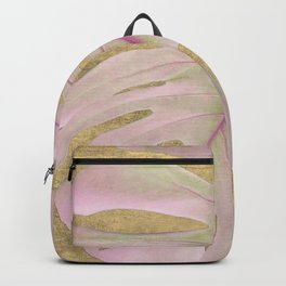 Rose palm on golden texture background Backpack