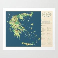 MAP OF GREECE Art Print