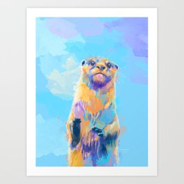 Mister Otter - Colorful Animal Portrait Art Print