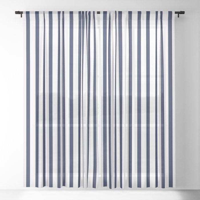 Navy Blue Breton Vertical Stripes Lines, Navy Striped Curtains