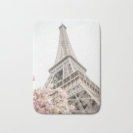 Eiffel Tower Cherry Blossoms Bath Mat