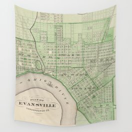 Vintage Map of Evansville Indiana (1876) Wall Tapestry