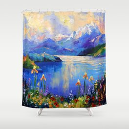 Flowers on the shore of a mountain lake Shower Curtain