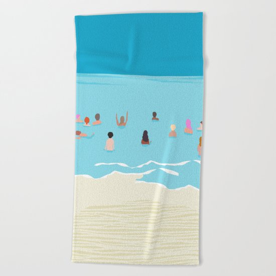 Stoked - memphis throwback retro neon pop art illustration socal cali beach surfing swimming sea Beach Towel