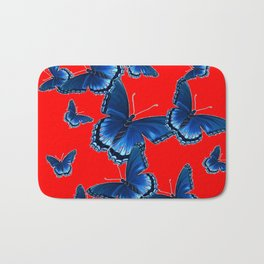 DECORATIVE CHINESE RED PATTERNED  BLUE BUTTERFLY FLOCK Bath Mat