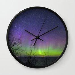 Aurora Borealis over Lake Superior Wall Clock