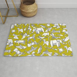 origami animal ditsy chartreuse Rug