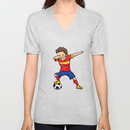 Dabbing Soccer Player Shirt Football Team Kid Gift Unisex V-Neck
