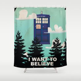 I want to Believe retro telephone box Shower Curtain