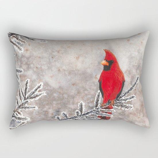 The Red Cardinal in winter Rectangular Pillow