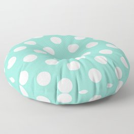 Middle blue green - heavenly - White Polka Dots - Pois Pattern Floor Pillow