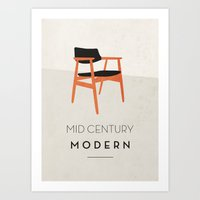 mid century Art Prints featuring Mid Century Modern by fjord