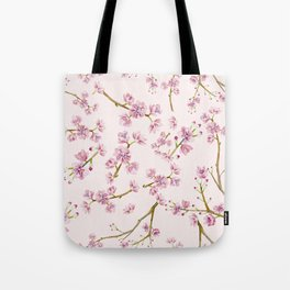 Spring Flowers - Pink Cherry Blossom Pattern Tote Bag