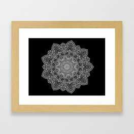 White lace Mandala Framed Art Print