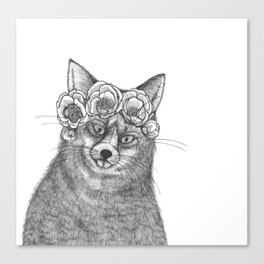 vixen fox wearing a crown of peonies Canvas Print