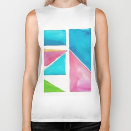 180811 Watercolor Block Swatches 1| Colorful Abstract |Geometrical Art Biker Tank