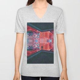 Colorful Dystopian City Unisex V-Neck