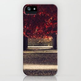 Red colors of autumn, surreal photo, red trees, alley in a park iPhone Case
