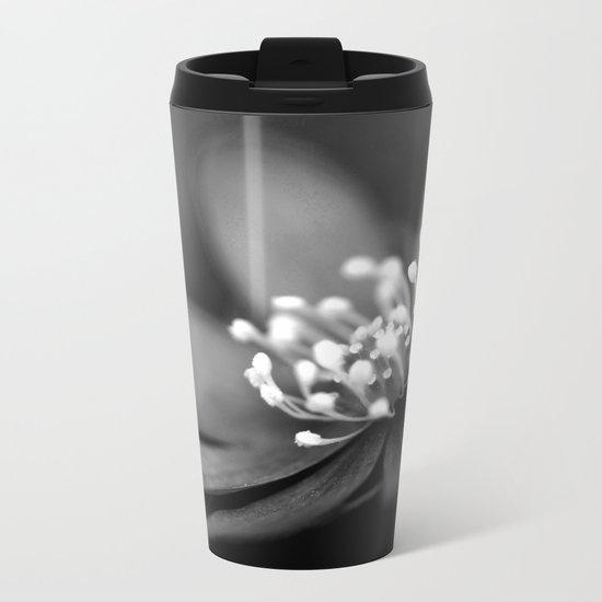 Blue spring flower Hepatica in bw II Metal Travel Mug