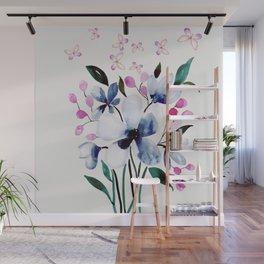 Flowers and butterflies 3 Wall Mural