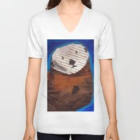 otter V-neck T-shirts featuring Otter by Cre8tive Papier