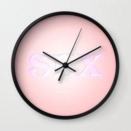 The word sex on a pink background. Wall Clock