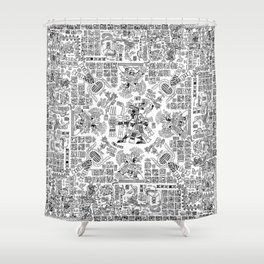 Mayan Spring B&W Shower Curtain