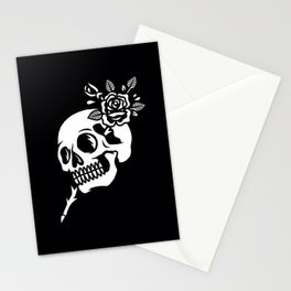 Tattoos style skull and flower Stationery Cards
