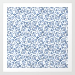 Pretty Indigo Blue and White Ethnic Floral Print Art Print