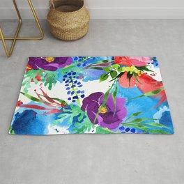 Purple Pansies, Red Roses, & Blue Floral Pattern Rug