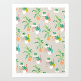 Pretty tropical plant pattern on taupe Art Print