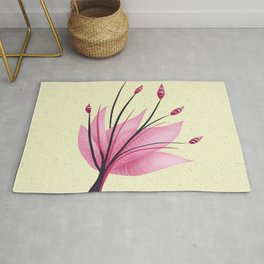 Pink Abstract Water Lily Flower Rug