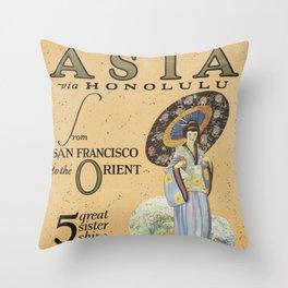 Vintage Travel Poster - Asia to Honolulu Throw Pillow