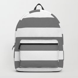 Gray (HTML/CSS gray) -  solid color - white stripes pattern Backpack