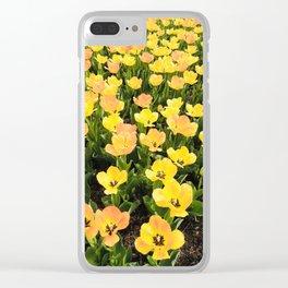 tiptoe thru the yellow tulips Clear iPhone Case