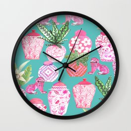 Pink Chinese ginger jars on teal with calathea plants and palms Wall Clock