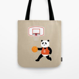 Play basketball with a panda Tote Bag