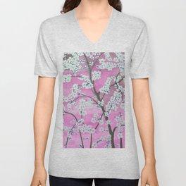 Elegant white pink floral painting pattern Unisex V-Neck
