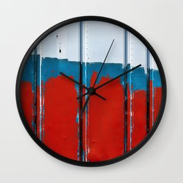Paint On COntainer In Red White Blue Wall Clock