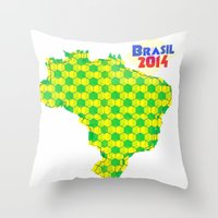 brasil Throw Pillows featuring Brasil 2014 by Bunhugger Design